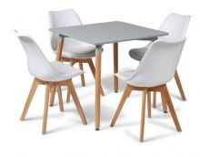 Toulouse Dining Set  - 80cms Square Grey Table & 4 White Chairs